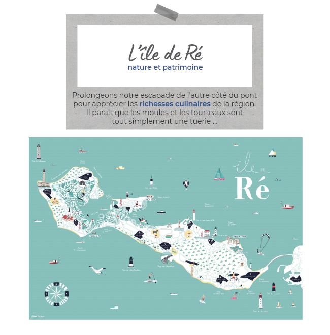 L'île de Ré, nature et patrimoine - Prolongeons notre escapade de l'autre côté du pont pour apprécier les richesses culinaires de la région. Il paraît que les moules et les tourteaux sont tout simplement une tuerie ... (CARTE DE L'ÎLE DE RÉ)